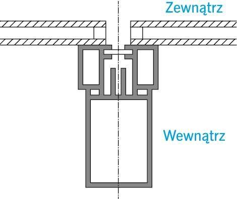 RYS. 5. Detal ściany słupowo‑ryglowej z oszkleniem strukturalnym (nowej generacji). Konstrukcja ściany usytuowana po wewnętrznej stronie przegrody, po jej stronie ciepłej. Oszklenie ściany montowane od strony zewnętrznej budynku.