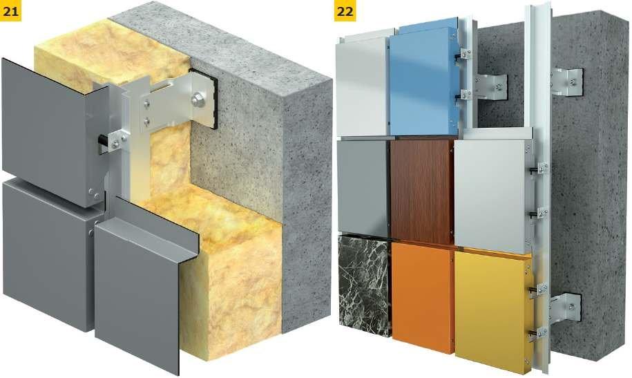RYS. 21-22. Przykłady konstrukcji fasady wentylowanej: izolowanej (21), bez warstwy izolacyjnej (22); rys.: Aluprof