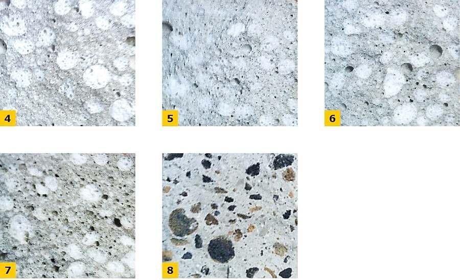 FOT. 4-8. Przełom beleczki wykonanej: z zaprawy zawierającej granulowane szkło piankowe ZI (4), ZII (5), ZIII (6), ZIV (7) oraz z granulowanego popiołu lotnego ZV (8); fot.: archiwa autorów