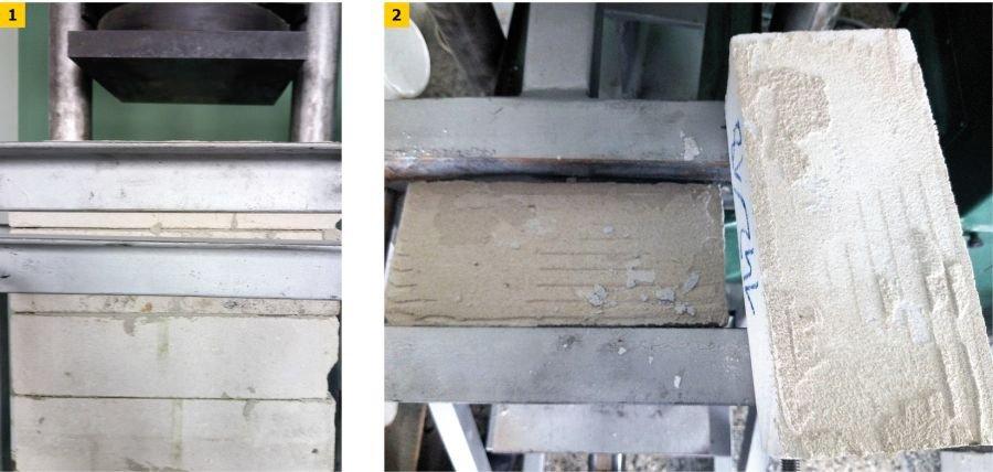 FOT. 1-2. Oznaczanie wytrzymałości spoiny na zginanie: blok z cegieł przygotowany do badania (1), spoina po badaniu (2); fot. Laboratorium EFEKT w Zabrzu