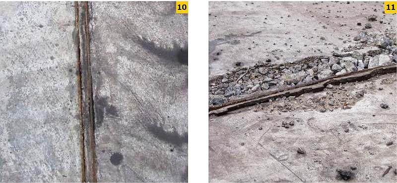 FOT. 10–11. Uszkodzenia stalowych okuć dylatacyjnych: korozja kątowników dylatacyjnych (10), wykruszenia betonu, deformacja i korozja okucia dylatacji (11)