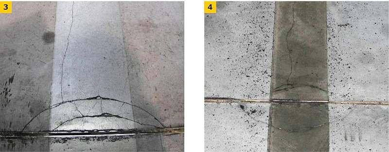 FOT. 3–4. Wyłamania krawędzi dylatacji przez źle osadzony kątownik pod działaniem obciążenia kołami środków transportowych