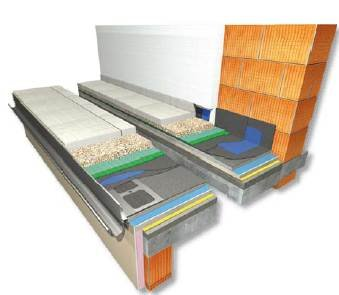 RYS. 12. Taras nad pomieszczeniem ogrzewanym z drenażowym odprowadzeniem wody – warstwa użytkowa z płyt betonowych na warstwie płukanego kruszywa