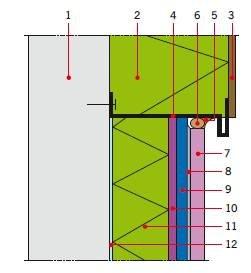 RYS. 5. Uszczelnienie styku tarasu ze ścianą docieploną (ETICS); 1 – ściana, 2 – termoizolacja ściany, 3 – warstwa zbrojąca z tynkiem strukturalnym, 4 – listwa startowa z kapinosem, 5 – elastyczna masa uszczelniająca (z opcjonalnym gruntownikiem), 6 – s.