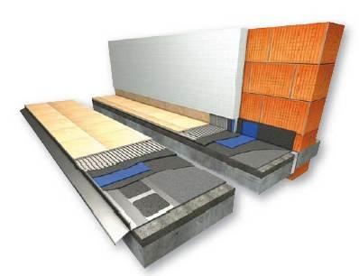 RYS. 8. Przekrój przez połać balkonu wspornikowego zamocowanego w ocieplonej ścianie z profilem okapowym przeznaczonym do uszczelnienia zespolonego ze szlamu elastycznego