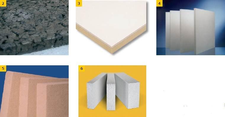 Fot. 2–6. Nowoczesne materiały termoizolacyjne: płyty korkowe (2), płyty poliuretanowe (3), płyty klimatyczne (hydroaktywne) (4, 5, 6)