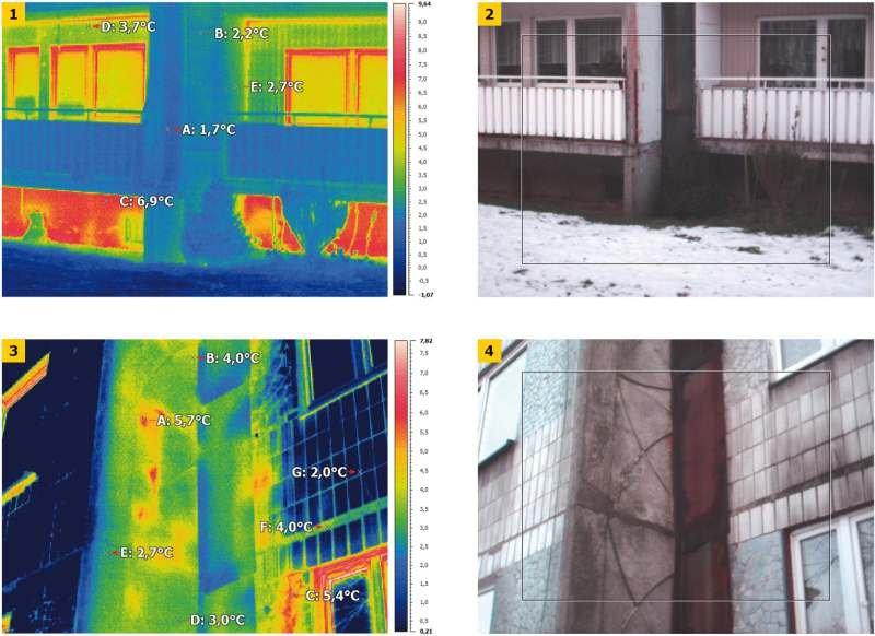 FOT. 1–4. Termogramy ścian budynku wielkopłytowego w obrębie dylatacji