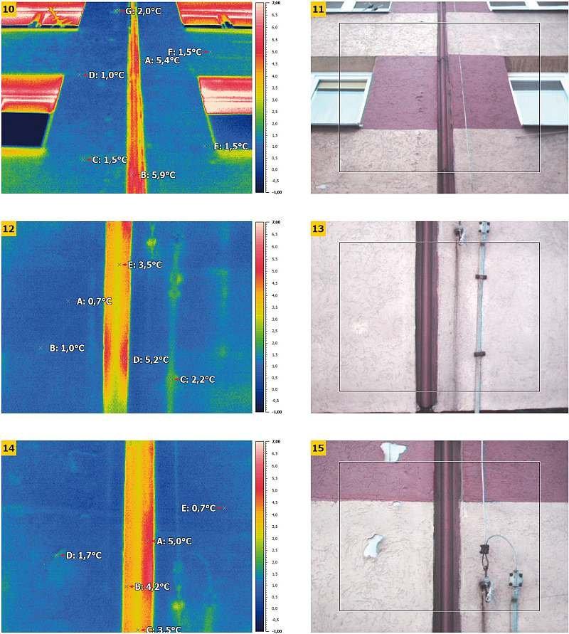 FOT. 10–15. Termogramy zbliżeniowe (detale) ścian budynku wielkopłytowego w obrębie dylatacji