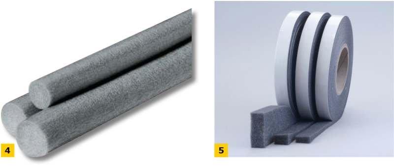 FOT. 4–5. Taśmy stosowane do zamknięcia dylatacji ETICS: szczeliwo poliuretanowe (4) i taśma rozprężna (5);