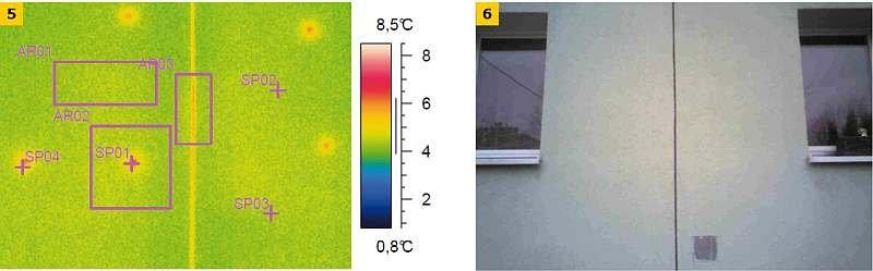 FOT. 5–6. Termogram ocieplonej ściany budynku wielkopłytowego