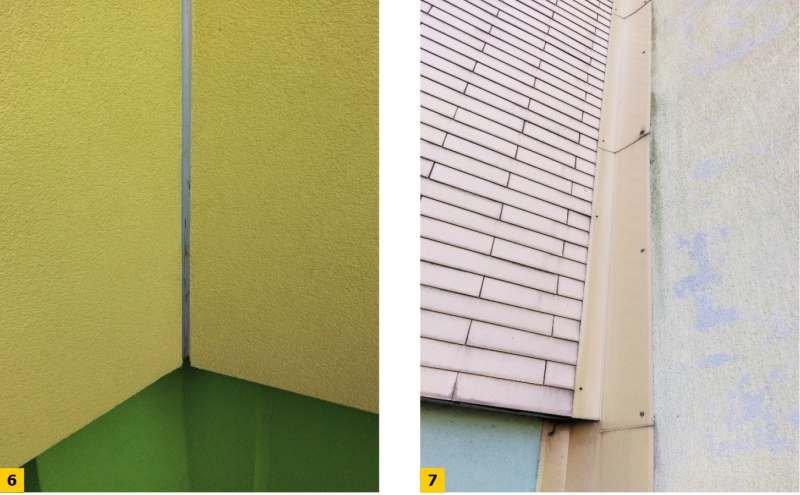 FOT. 6–7. Dylatacje narożne: systemowy profil z tworzywa sztucznego oraz blacha stalowa