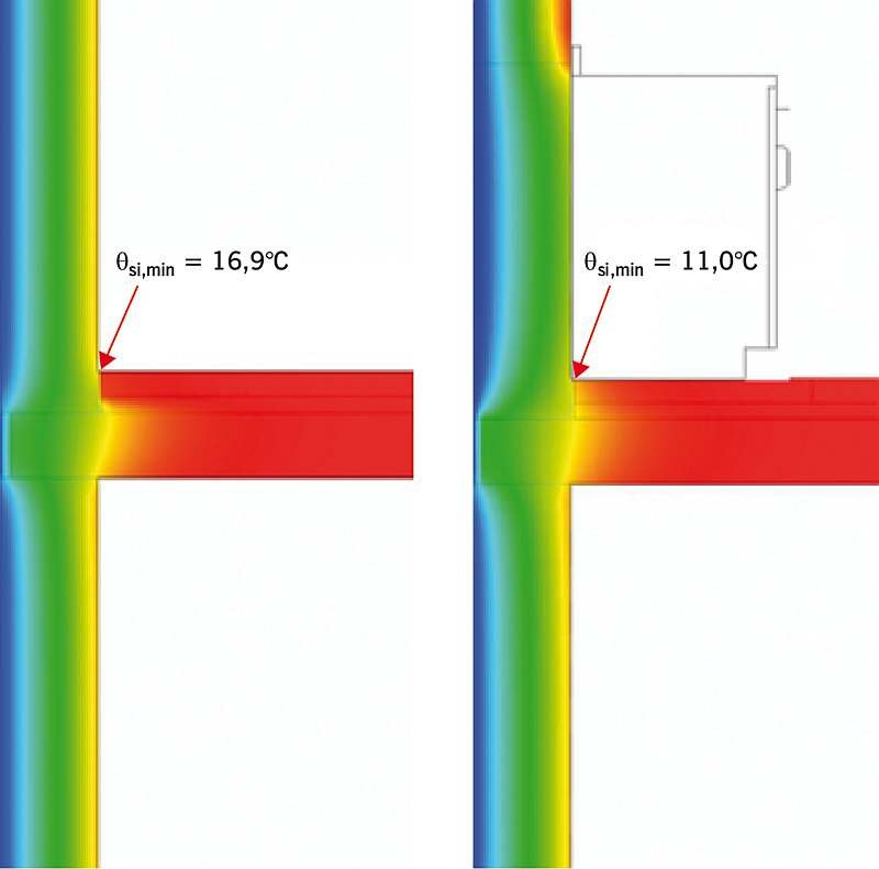 Rys. 1. Temperatura w narożu ściennym zabudowanym i niezabudowanym; rys.: archiwa autorów (T. Steidl, P. Krause)
