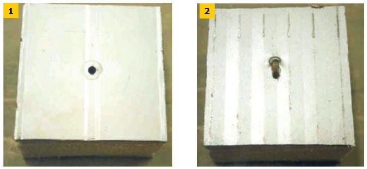 FOT. 1–2. Deformacja otworu w okładzinie górnej (1) i dolnej (2)
