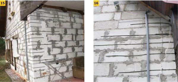 FOT. 15–16. Przykład zszycia rys w murze z betonu komórkowego; fot. [18]