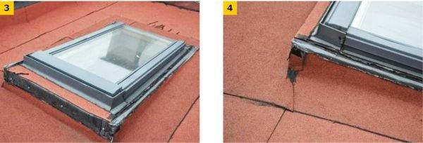 FOT. 3–4. Błędy w obróbkach blacharskich przy oknach połaciowych w dachu płaskim;
