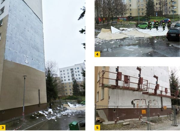 FOT. 3–5. Efekt nieprawidłowego dodatkowego docieplenia ściany szczytowej budynku wielkopłytowego;