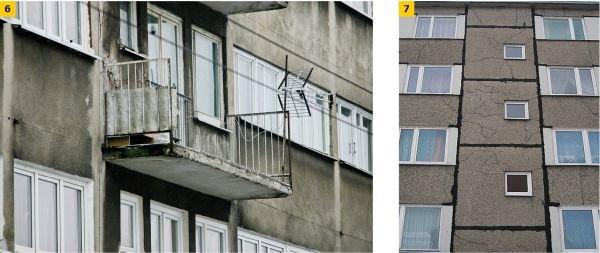 FOT. 6–7. Typowe uszkodzenia zewnętrznych elementów ściennych i balkonowych budynków;