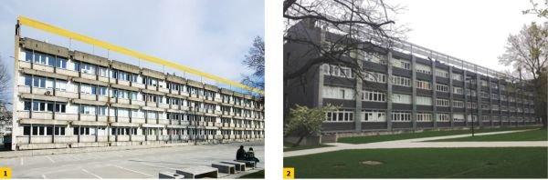 FOT. 1–2. Przykład rewitalizacji elewacji budynku C-6 w kampusie Politechniki Wrocławskiej: widok przed rewitalizacją (1) oraz po rewitalizacji (2)