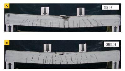Fot. 5–6. Przykładowe zniszczenia belek żelbetowych z betonu geopolimerowego