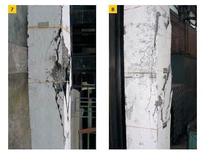 Fot. 7–8. Przykładowe zniszczenia słupów żelbetowych z betonu geopolimerowego