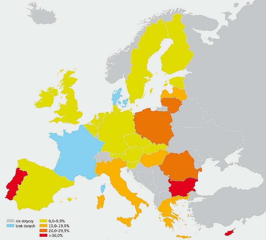 RYS. Odsetek gospodarstw domowych, które nie są w stanie utrzymać odpowiedniego komfortu cieplnego w swoim miejscu zamieszkania; rys. EU-SILC