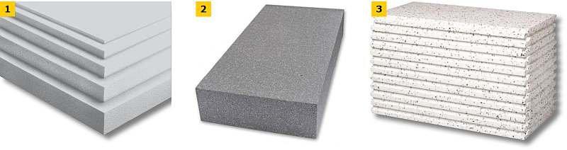FOT. 1–3. Przykładowe płyty styropianowe do ocieplania ścian zewnętrznych: płyty styropianowe różnej grubości (1), płyta styropianowa szara (2), płyty styropianowe mieszane (3); fot.: materiały producentów