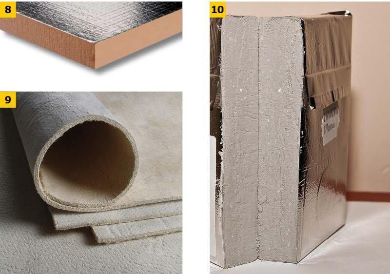 FOT. 8–10. Przykładowe innowacyjne materiały termoizolacyjne: płyta fenolowa (rezolowa) (8), porogel (9), płyta izolacja próżniowa VIP (10); fot.: materiały producentów