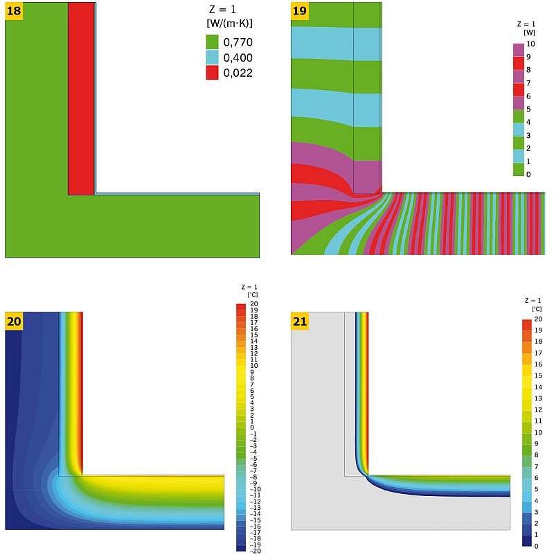 RYS. 18–21. Analizowany narożnik ścian zewnętrznych ocieplony od wewnątrz (jedna gałąź): układ warstw materiałowych (18), linie strumieni cieplnych (adiabaty) (19), rozkład temperatur (izotermy) (20, 21); rys.: K. Pawłowski [25]