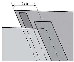 Rys. 3. Łączenie prostopadłych do okapu pasm MWK najlepiej jest wykonać albo na krokwiach, albo za pomocą dwóch rodzajów taśm: najpierw dwustronnie klejącej umieszczonej w zakładzie, a potem jednostronnej zaklejającej zakład od góry.