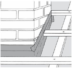 Rys. 5. Drugi etap łączenia MWK z kominem polega na jej dociśnięciu do muru za pomocą taśmy jednostronnie klejącej, z której tworzy się obejma uszczelniająca jednocześnie wszelkie połączenia i szpary. W naszym klimacie jest to najlepszy sposób uszczelniania kominów.
