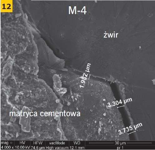 RYS. 12. Przykładowe zdjęcie mikroskopowe strefy przejściowej matrycy cementowej z kruszywem żużlowym i żwirowym betonu M-3 i M-4