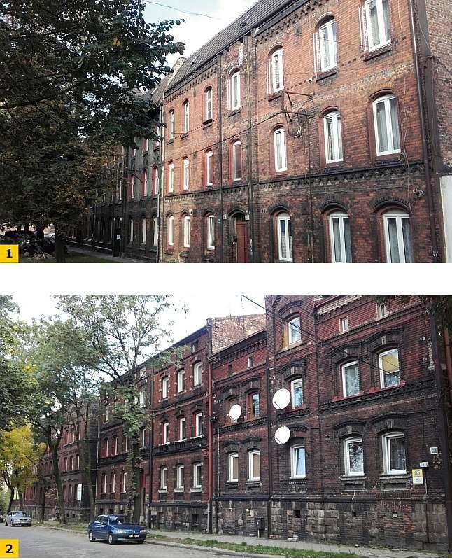 Fot. 1–2. Przykładowe budynki wielorodzinne na terenie Chorzowa i Siemianowic Śląskich; fot.: archiwum autora (A. Miros)