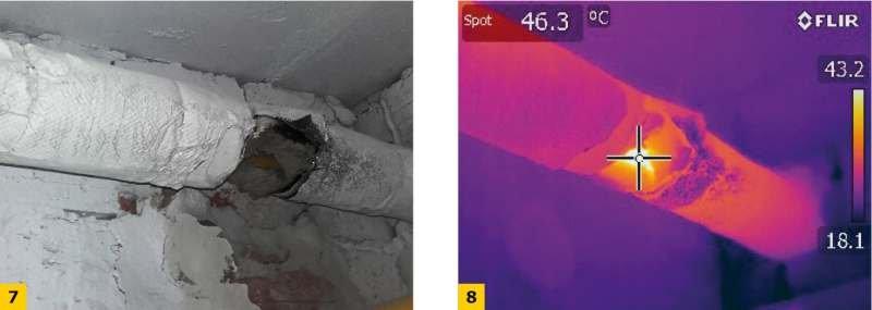 Fot. 7–8. Uszkodzenia izolacji technicznej: brak ciągłości izolacji; fot.: archiwum autora (A. Miros)
