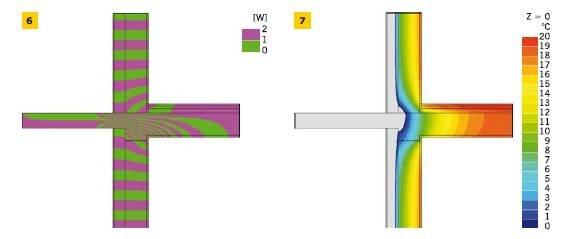 RYS. 6–7. Połączenie ściany zewnętrznej dwuwarstwowej z płytą balkonową – wariant I: linie strumieni cieplnych – adiabaty (6) i temperatury w złączu – izotermy (7)
