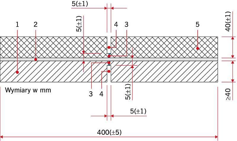 RYS. 2. Schemat próbki do badania zdolności do badania pęknięć w podłożu według normy PN-EN 14224:2010 [7]: 1 – płyta betonowa, 2 – izolacja, 3 – rysa, 4 – nacięcie piłą, 5 – nawierzchnia (warstwa wiążąca)