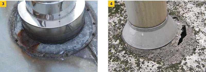 FOT. 3–4. Niewłaściwie wykonana/uszkodzona obróbka wokół kominka odpowietrzającego