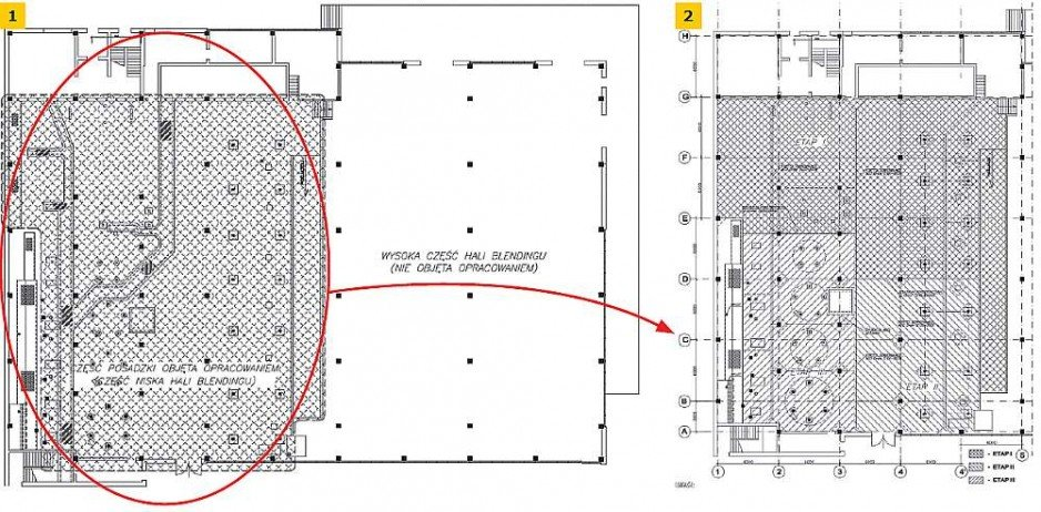RYS. 1–2. Rzut hali z częścią posadzki przeznaczoną do naprawy: część produkcyjna z widocznymi fundamentami i kanałami przeznaczonymi do rozbiórki i część magazynowa nieobjęta opracowaniem.