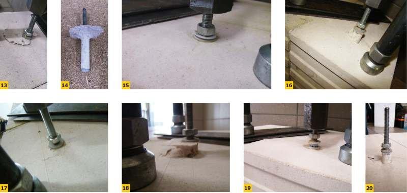 FOT. 13–20. Wyniki badań zakotwienia pręta stalowego w drążonym bloku wapienno-piaskowym: w części pełnościennej (13–14), w środku otworu pionowego (15–16), na krawędzi otworu pionowego (17–20)