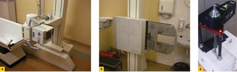 FOT. 4–6. Stanowiska badawcze: medyczny aparat rentgenowski – urządzenie nadawcze z lampą rentgenowską (4), odbiornik (5), aparat pull-out (6)