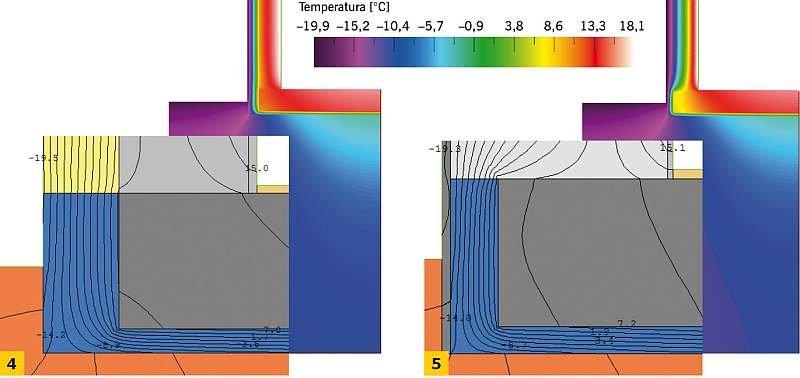 RYS. 4–5. Pole temperatur (skala temperatur) i rozkład izoterm (detal węzła) dla przypadków o wymiarze charakterystycznym B' = 8,0 m: ze ścianą dwuwarstwową (3), ze ścianą jednowarstwową (4); rys. archiwum autorki; (P. Szczepaniak)