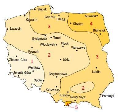 Rys3. Podział Polski na strefy obciążenia śniegiem runtu według normy PN-EN 1991-1-3:2005 [6]