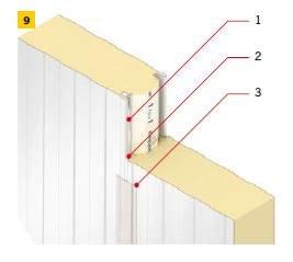 RYS. 9. Szczegół złącza płyt warstwowych w komorach przechowalniczych; 1 – masa uszczelniająca aplikowana we wpuście złącza okładzin, 2 – masa wypełniająca szczelinę złącza płyt (tzw. fuga), 3 – taśma gazoszczelna lub powłoka z masy poliuretanowej (p.