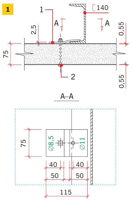 RYS. 1. Połączenie płyt warstwowych z ryglami, w których zastosowano zaczepy z blach w sposób niezalecany: 1 – zaczep z blachy, 2 – śruba M8 (zamkowa)