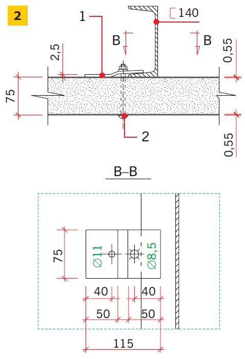 RYS. 2. Połączenie płyt warstwowych z ryglami, w których zastosowano zaczepy z blach w sposób zalecany: 1 – zaczep z blachy, 2 – śruba M8 (zamkowa)