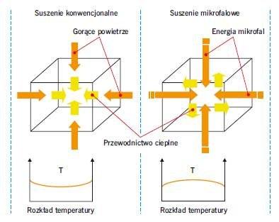 Rys. 1. Schemat przedstawiający różnice między suszeniem przegrody w sposób konwencjonalny i mikrofalowy