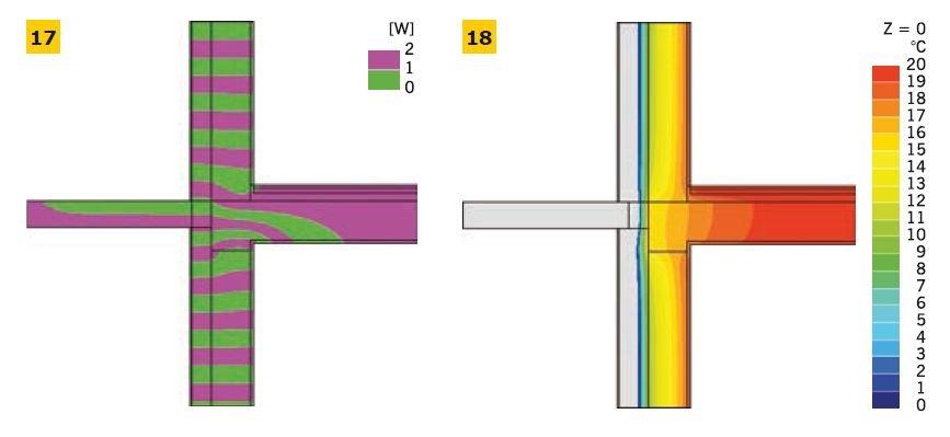 RYS. 17–18. Linie strumieni cieplnych – adiabaty (17), rozkład temperatur w złączu – izotermy (18);