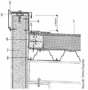 Rys. 2 . Wyprowadzenie pokrycia z folii na attykę z zastosowaniem obróbek z blach w dachu o lekkiej konstrukcji z blach fałdowych
