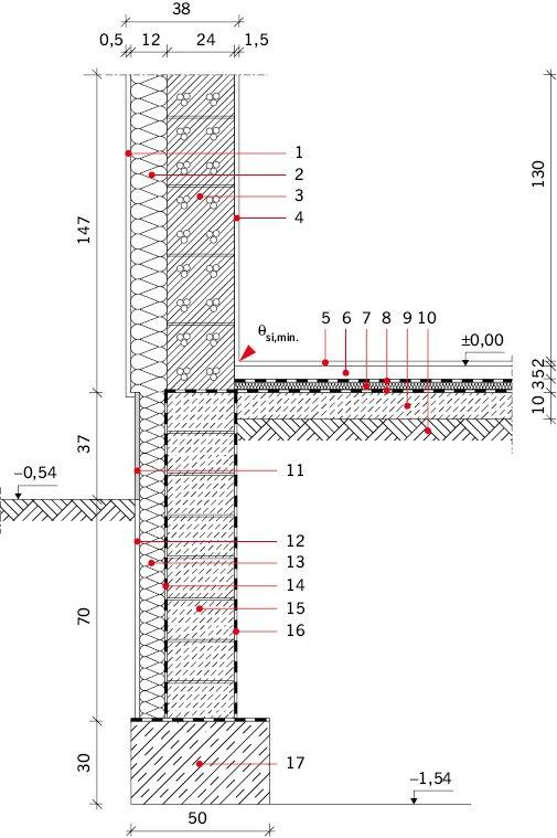 RYS. 2. Złącza przegród stykających się z gruntem, wariant II;  Ściany zewnętrzne nadziemia: 1 – tynk zewnętrzny cienkowarstowy gr. 0,5 cm,, 2 – styropian fasadowy gr. 12 cm, 3 – bloczki gazobetonowe gr. 24 cm, 4 – tynk cementowo-wapienny gr. 1,5 cm. Po.