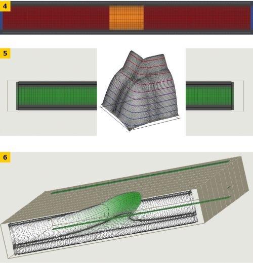 RYS. 4–6. Przykład analizy jednoczesnego przepływu ciepła i wilgoci; rys.: [7]