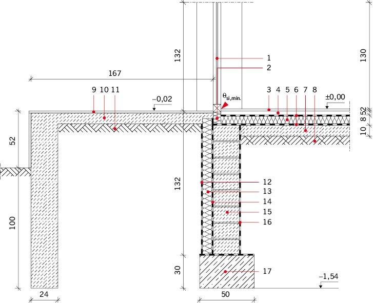 RYS. 8. Połączenie drzwi balkonowych z tarasem – wariant V: drzwi balkonowe podparte tulejami ze stali nierdzewnej z wypełnieniem styropianem;  Okno balkonowe drewniane: 1 – szyba o U =1,1 W/(m2·K), 2 – tuleje ze stali nierdzewnej z wypełnieniem styropi.